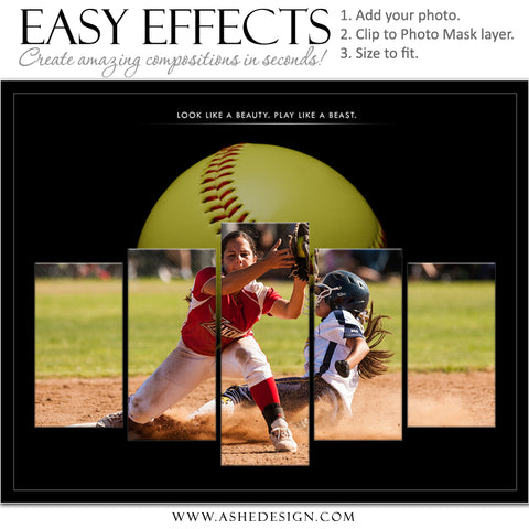 Ashe Design 16x20 Easy Effects - In The Shadows Softball