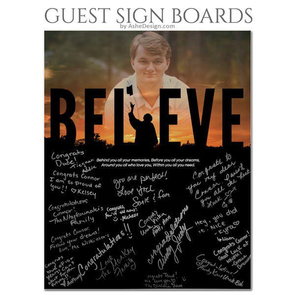 16x20 Guest Sign Board - Believe Silhouette
