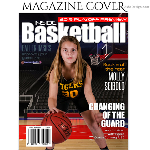 Ashe Design 8x10 Basketball Magazine Cover Photoshop Template AFTER