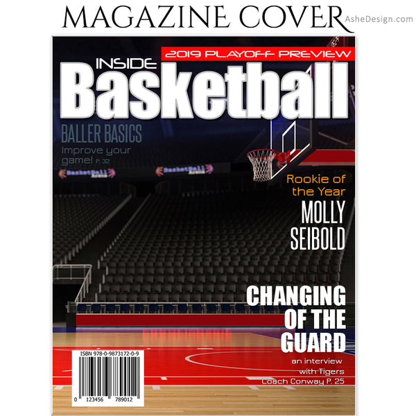 Ashe Design 8x10 Basketball Magazine Cover Photoshop Template BEFORE