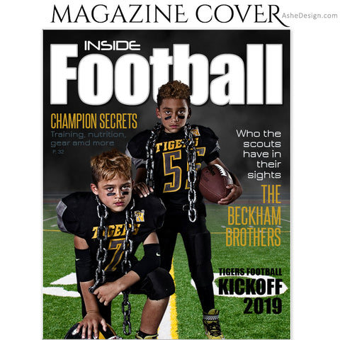 Ashe Design 8x10 Football Magazine Cover Photoshop Template AFTER
