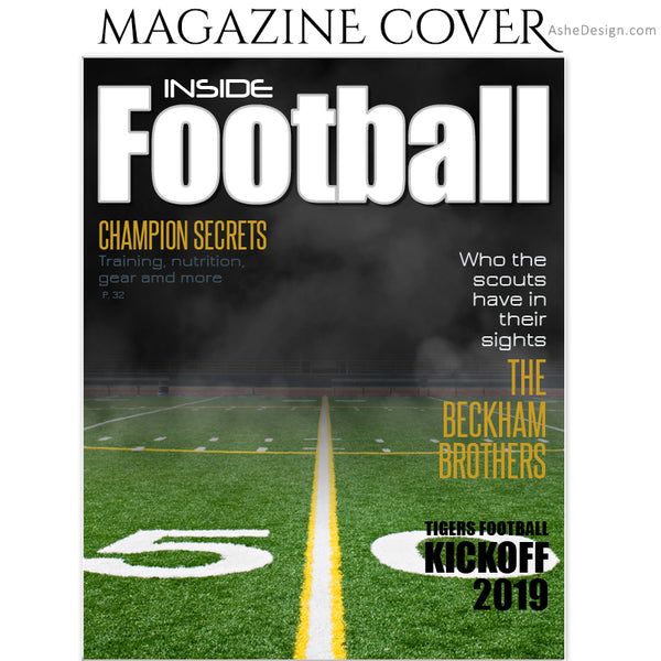 Ashe Design 8x10 Football Magazine Cover Photoshop Template BEFORE