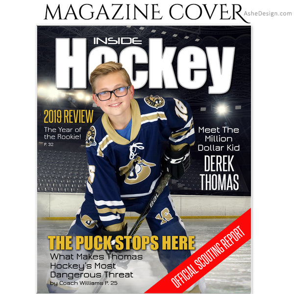 Ashe Design 8x10 Hockey Magazine Cover Photoshop Template AFTER