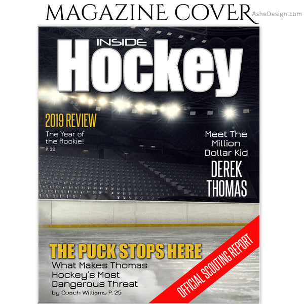 Ashe Design 8x10 Hockey Magazine Cover Photoshop Template BEFORE