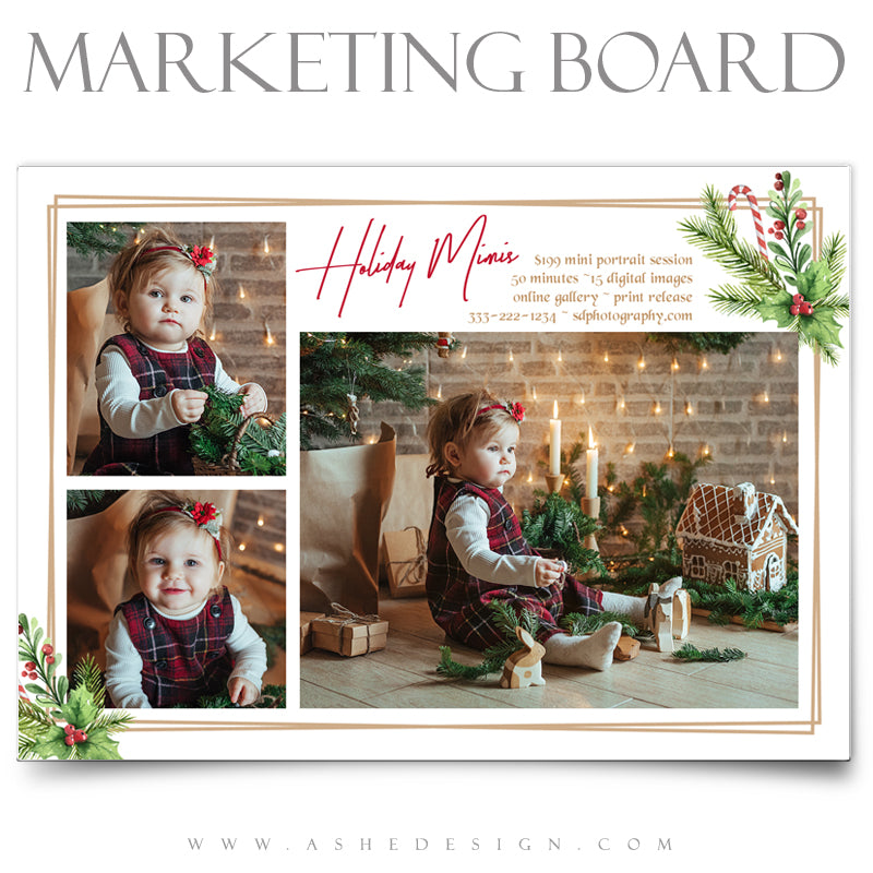 5x7 Flat Marketing Board - Holly Berries
