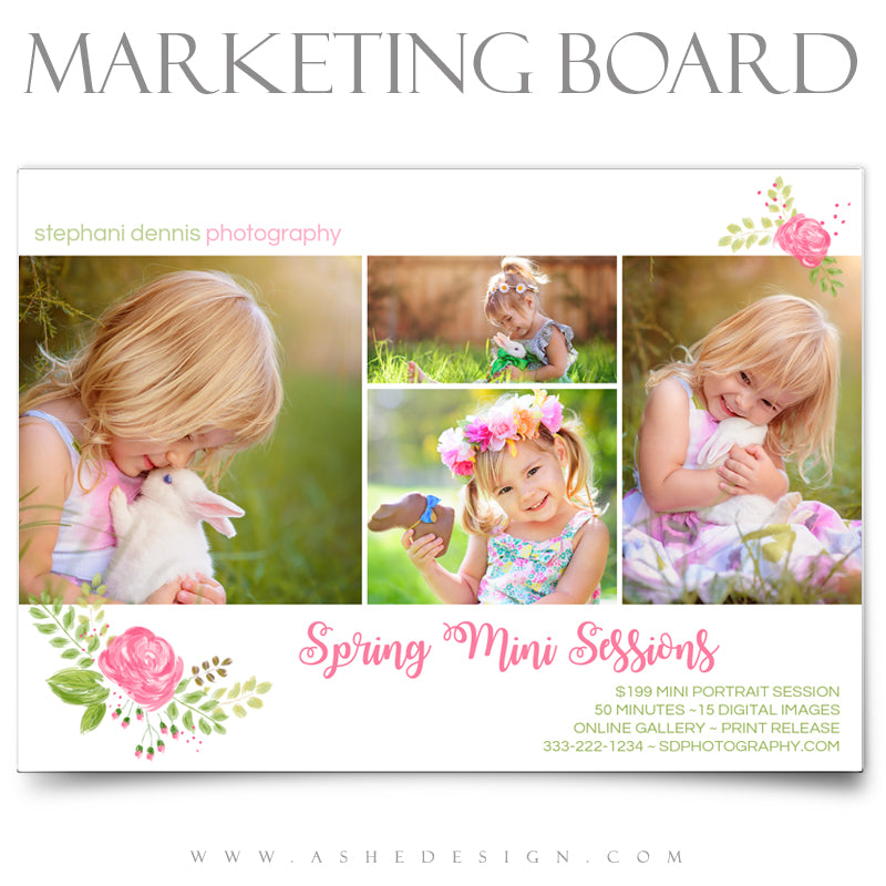 Ashe Design 5x7 Marketing Board - Spring Flowers