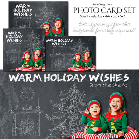 Christmas Photo Card Set - Chalkboard Christmas Cheer