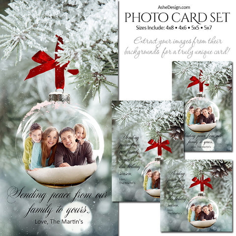 Christmas Photo Card Set - Frosted Glass Ornaments