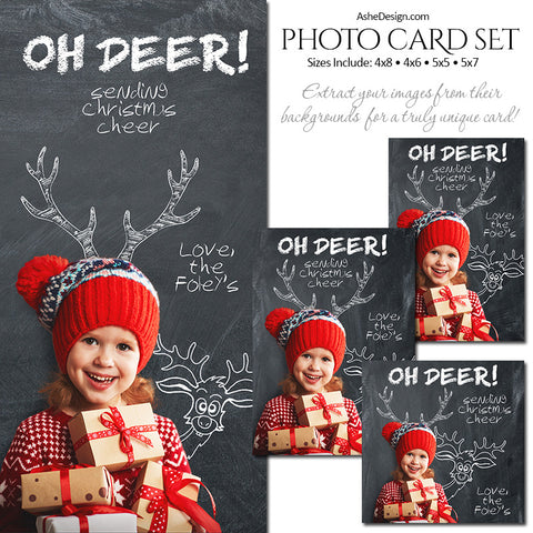 Christmas Photo Card Set - Chalkboard Oh Deer