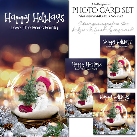 Christmas Photo Card Set - Twinkling Snow Globe