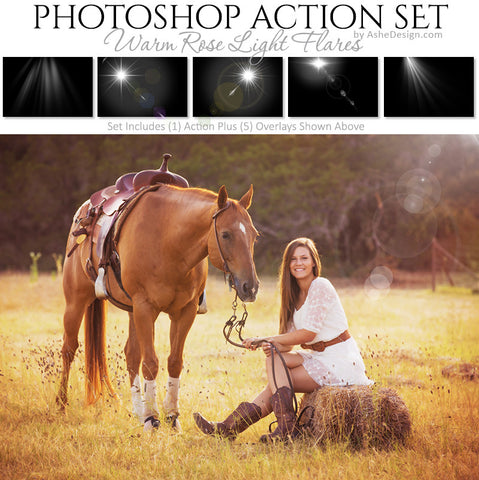 Photoshop Action - Overlays | Warm Rose Light Flares