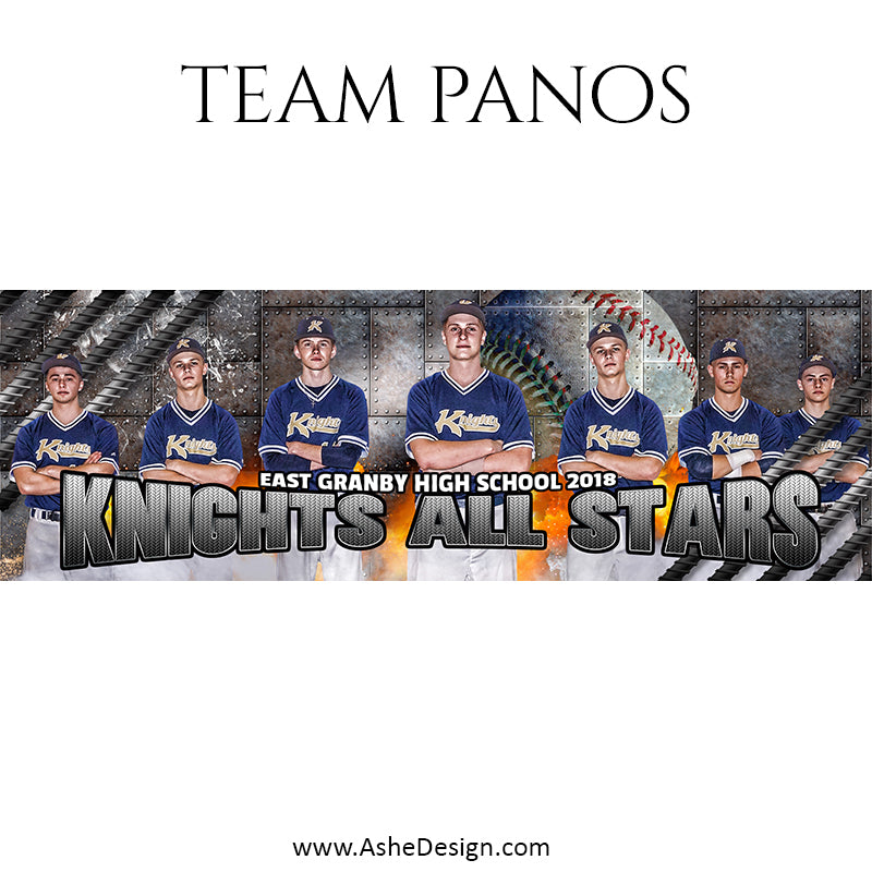 Ashe Design 30x10 Team Pano - Molten - Baseball