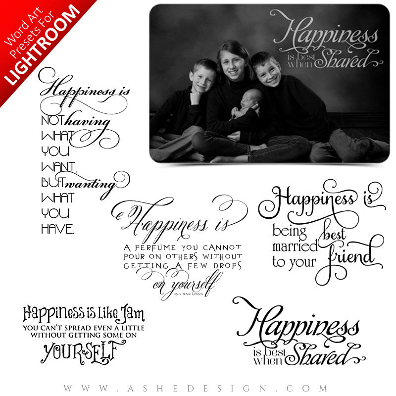 Lightroom Word Art Presets - Happiness Is