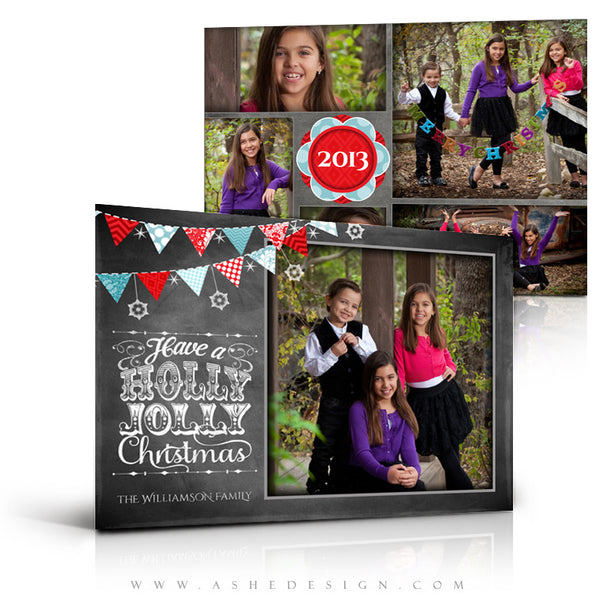 5x7 Flat Christmas Card - Chalkboard Holly Jolly Christmas