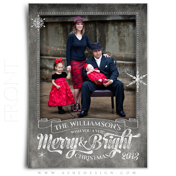 5x7 Flat Christmas Card - Chalkboard Merry & Bright