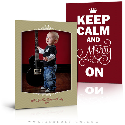5x7 Flat Christmas Card - Keep Calm Merry On