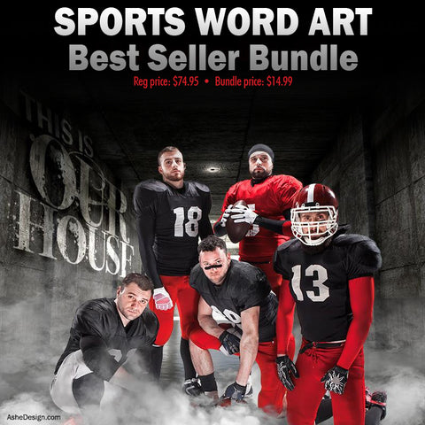 Ashe Design Best Sellers Bundle - Sports Word Art Overlays