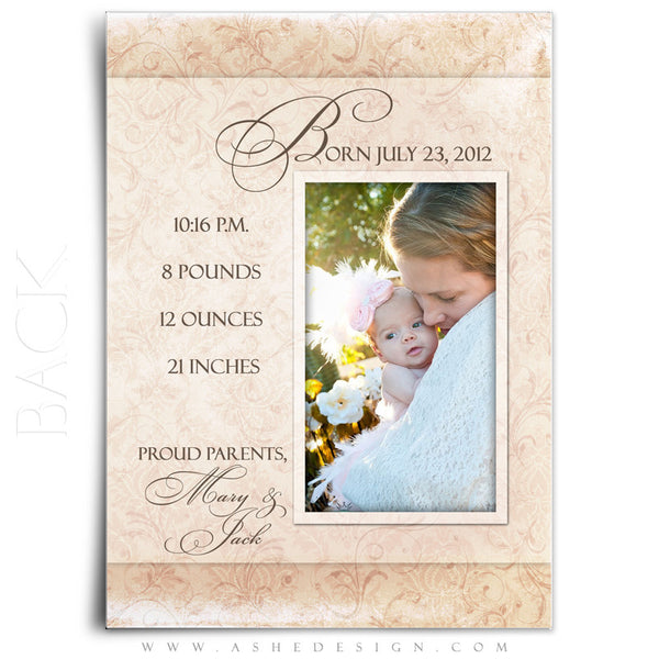 Flat Birth Announcement Templates | Amber Marie back
