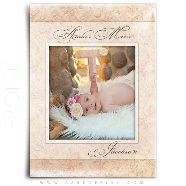 Flat Birth Announcement Templates | Amber Marie front