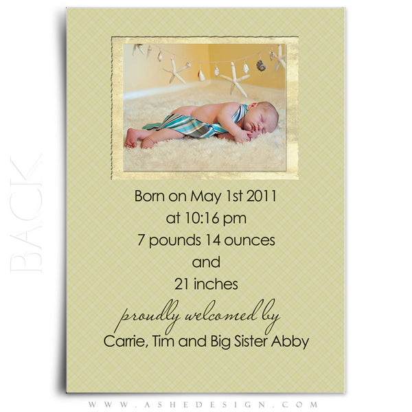 Flat Birth Announcement | Andrew James back