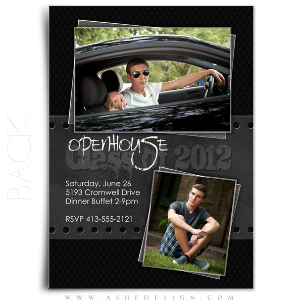 5x7 Flat Card Graduation Invitation - Black Leather