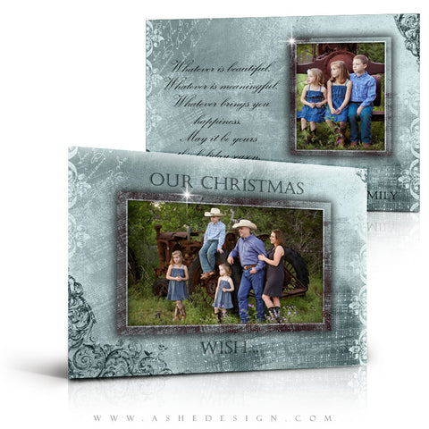 5x7 Flat Christmas Card - Blue Christmas