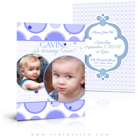 5x7 Flat Card Birthday Invitation - Bubble Gum Blue