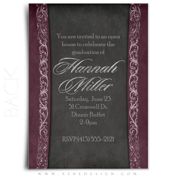 5x7 Flat Graduation Invitation - Chalkboard Senior Girl