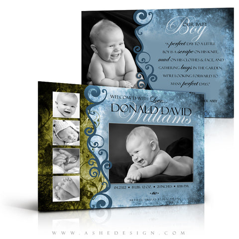 5x7 Flat Birth Announcement - Donald David