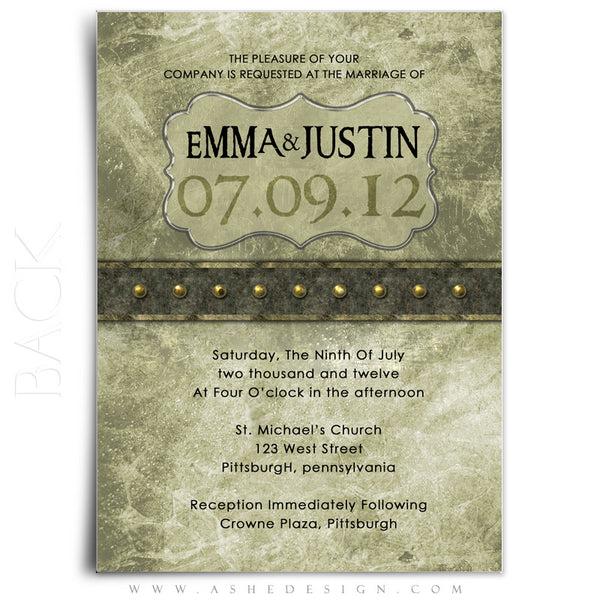 Wedding Invitation 5x7 Flat | Elegant Brushed Grunge back
