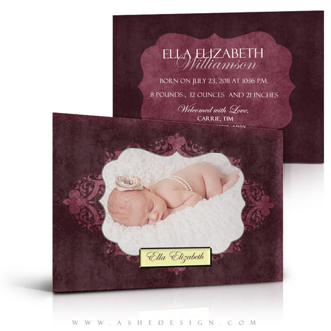 5x7 Flat Birth Announcement - Ella Elizabeth