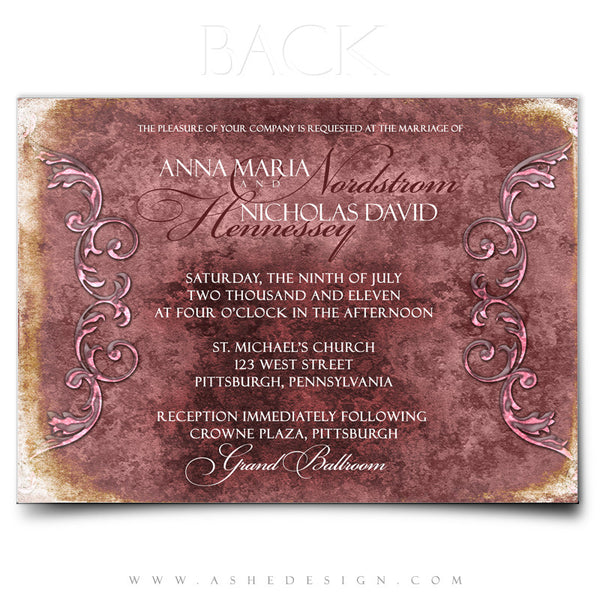 5x7 Flat Wedding Invitation - Engraved Elegance