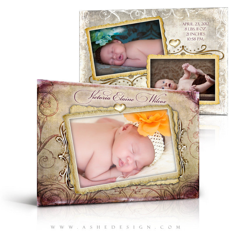 5x7 Flat Birth Announcement - Fleur De Lis