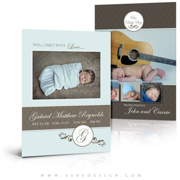 5x7 Flat Birth Announcement - Gabriel Matthew