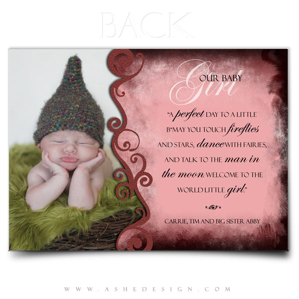 5x7 Flat Birth Announcement - Gabriella Ann