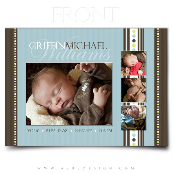 5x7 Flat Birth Announcement - Griffin Michael