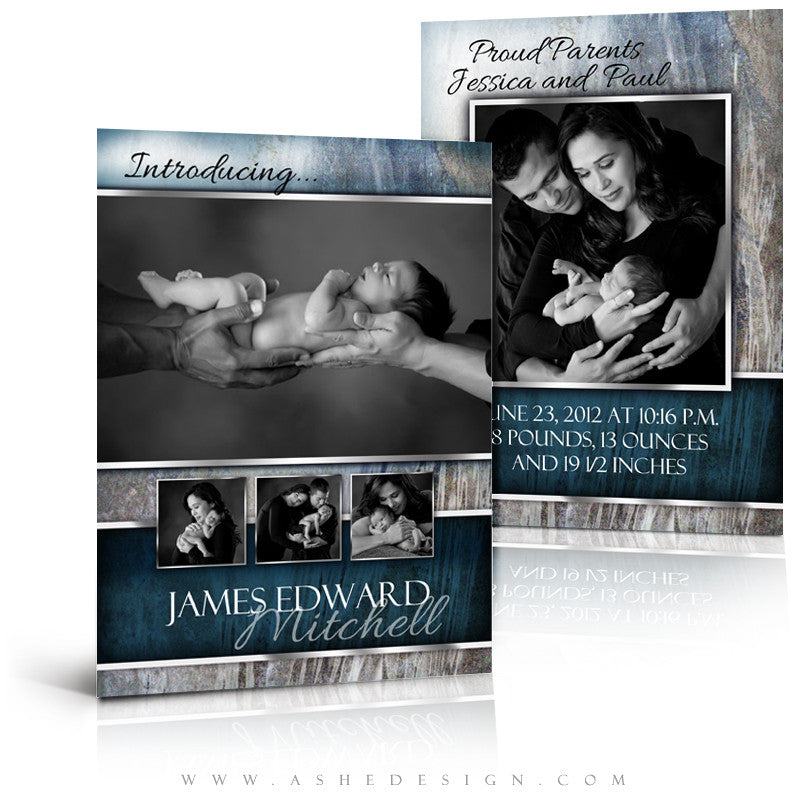 5x7 Flat Birth Announcement - James Edward