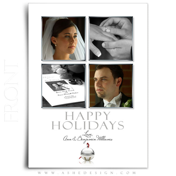 5x7 Flat Christmas Card - Jingle Bell White