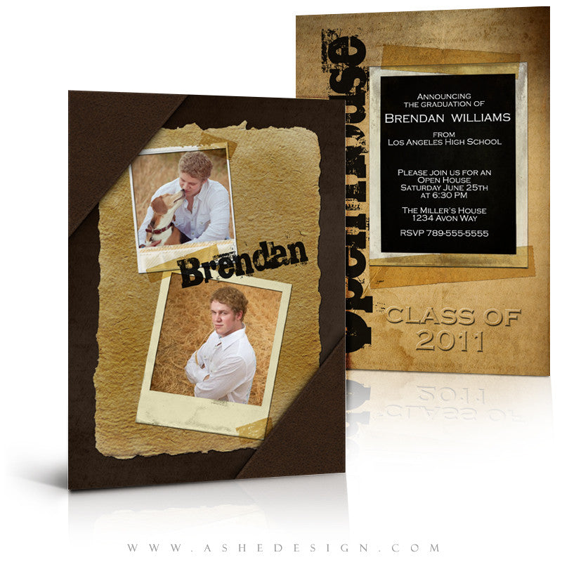 Senior Boy 5x7 Flat Graduation Invitation - Leather Bound