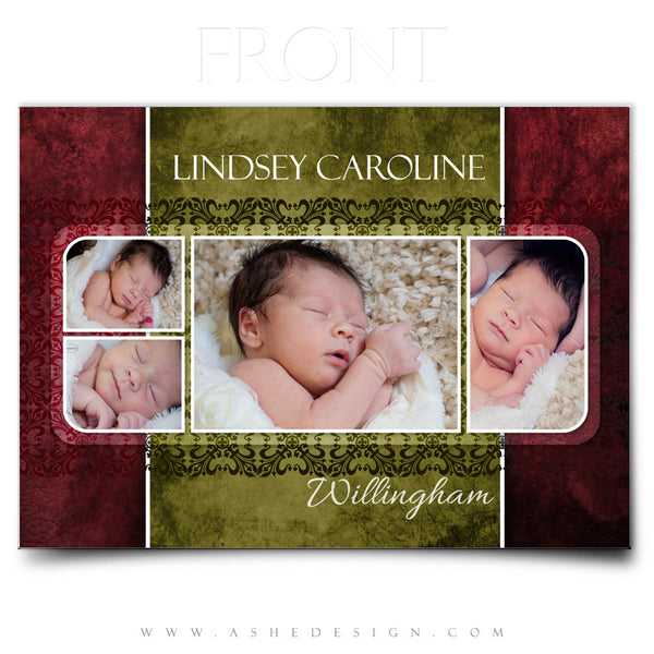 5x7 Flat Birth Announcement  - Lindsey Caroline