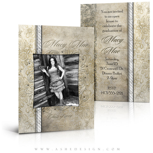5x7 Flat Senior Girl Graduation Invitation - Macy Mae