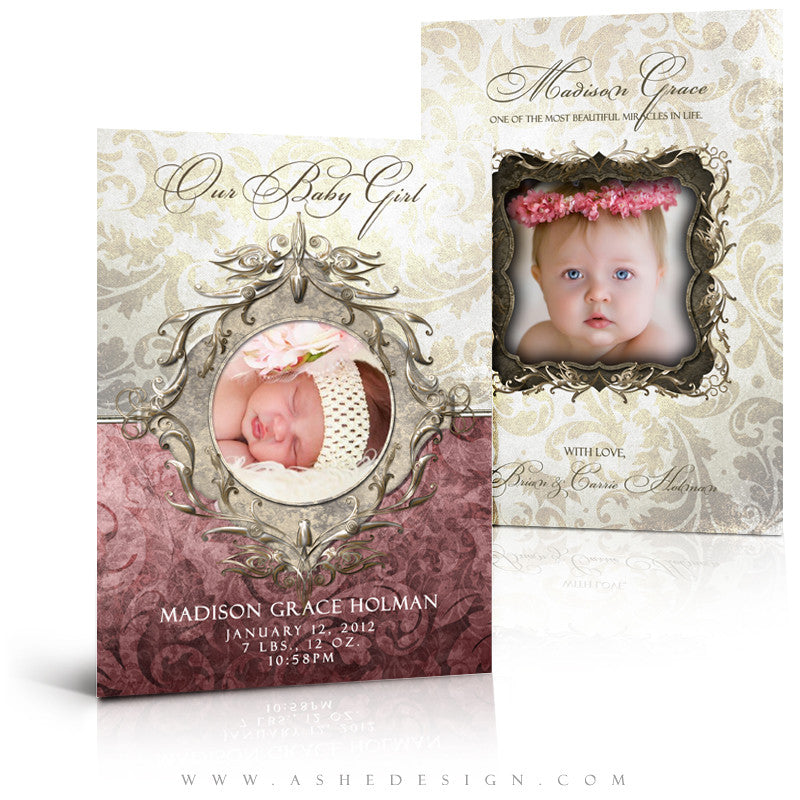 Madison Grace 5x7 Flat Baby Girl Birth Announcement AsheDesign – Madison Birth Announcements