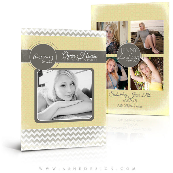 5x7 Flat Senior Girl Invitation - Modern Simplicity