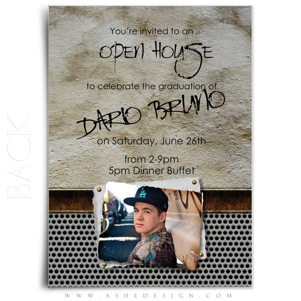 5x7 Flat Graduation Invitation - Scrap Metal