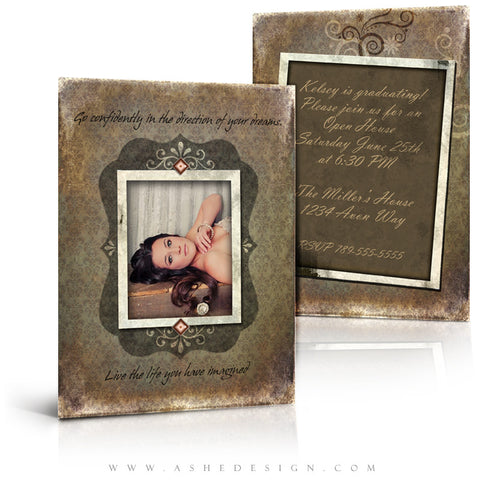 5x7 Flat Graduation Card - Shabby Chic