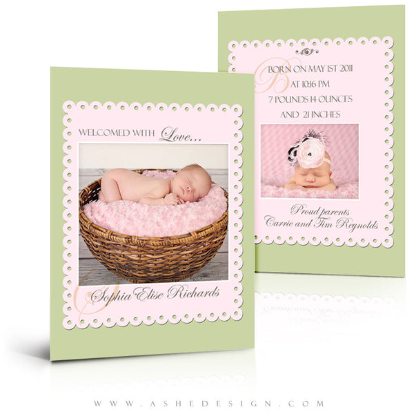 5x7 Flat Birth Announcement - Sophia Elise