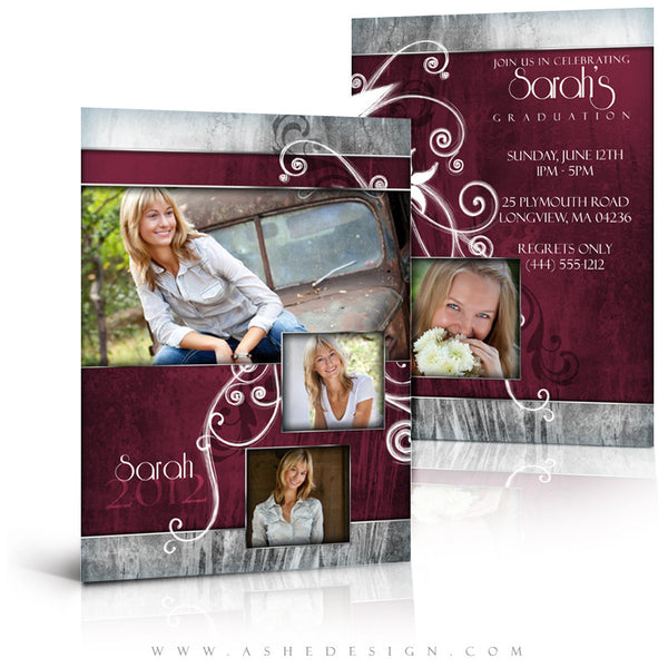 5x7 Flat Graduation Announcement - Steel Magnolia