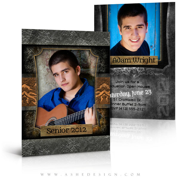 5x7 Flat Senior Boy Graduation Invitation - Tattooed