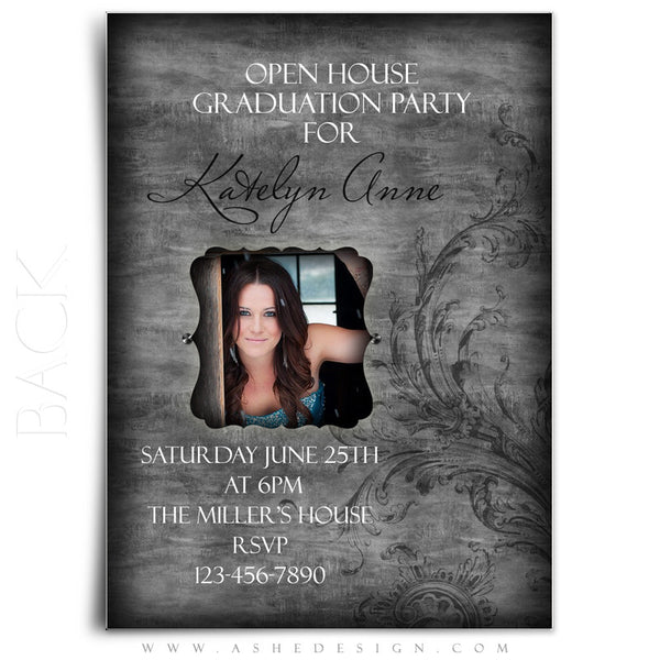 5x7 Flat Graduation Invitation - Timeless Beauty