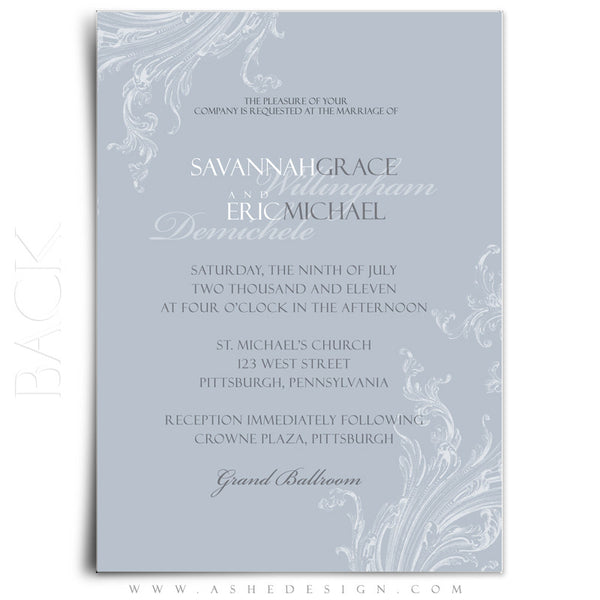 5x7 Flat Wedding Invitation - Wings of Love